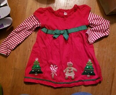 Sophie Rose Jumper Dress Size 6 Christmas Gingerbread Tree Red w/striped sleeves ()
