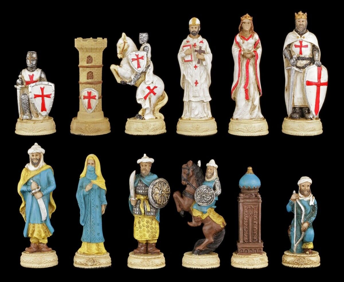 Schachspiel Ritter mit Glasbrett Ritterschach Mittelalter Schach Figuren