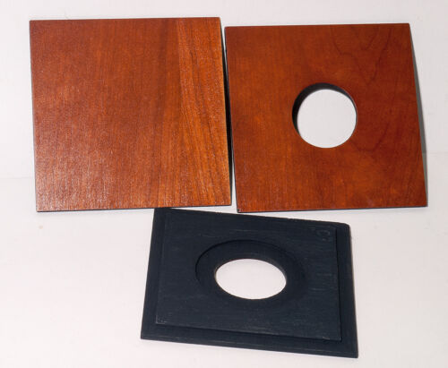 """1  LENS BOARD 4""""x4"""" type """"C"""" for GRAFLEX ANNIVERSARY SPEED GRAPHIC - of Plywood"""