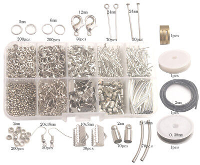 Ring Making Supplies (Jewelry Making Supplies Kit-1014PCS Split Jump Ring Lobster Clasp Tube Wire)