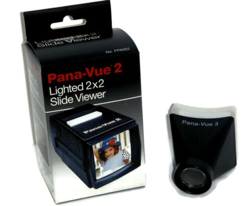 2 PACK Pana-Vue 2 & 3 Slide Viewer 2X2 Screen for 35mm - FPA002 & FPA003 -NEW
