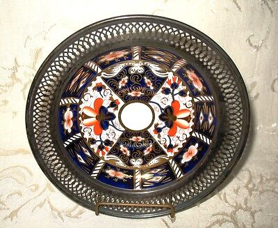 Royal Crown Derby Dish with Sterling Silver Border, Pattern 2451, Age 1910/1930