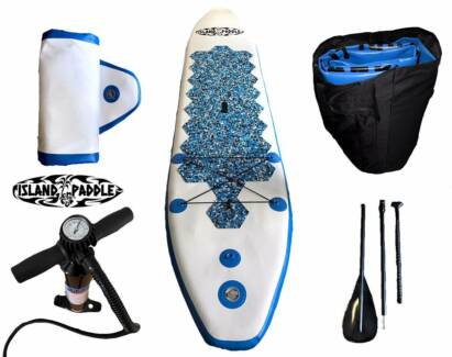 10.5 & 12ft Inflatable Paddle Board With Backpack, Pump & Paddle