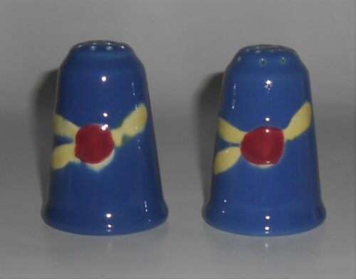 Coors Pottery Rosebud Blue Salt & Pepper Shaker Set