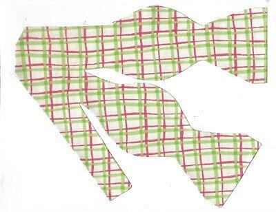 Watermelon Plaid Bow tie / Pink & Lime Green Plaid on Ivory / Self-tie Bow tie (Watermelon Bow Tie)