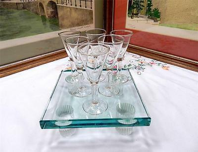 "SET OF SIX VINTAGE CRYSTAL 3 3/4"" LIQUOR CORDIAL GLASSES"