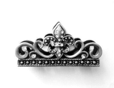 Business Card Holder (for a desk) - Fleur de lis Design, Pewter w/Clear Crystals