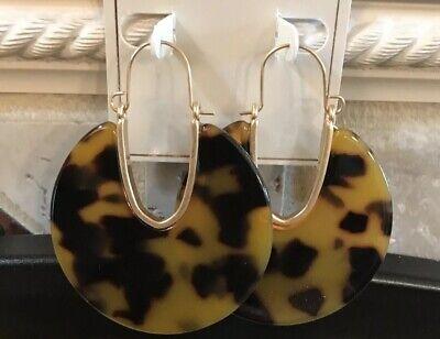 Faux Shell Earrings - CRYSTAL AVENUE MODERN XL Faux Tortoise Shell ACRYLIC Hoop Earrings- NWOT!