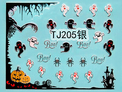 Halloween Tree Nails (Halloween Silver Tree Pumpkin Ghost Spider Web BOO 3D Nail Art Sticker)