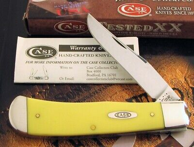 Case Tony Bose Back Pocket Knife 2011 Issue Yellow With Carbon Clip Blade MIB NR