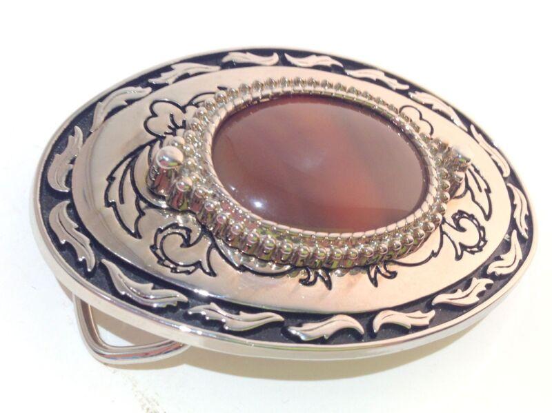 Beautiful Amber Agate Stone Western Cowboy Fashion Oval Belt Buckle