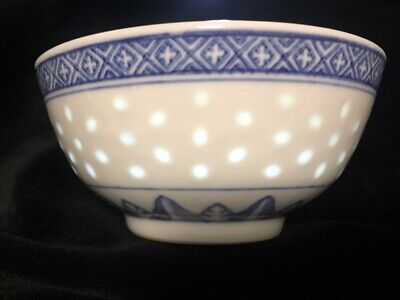 Jingdezhen China Rice Grain Blue White 5 Claw Dragon Porcelain Soup Bowl
