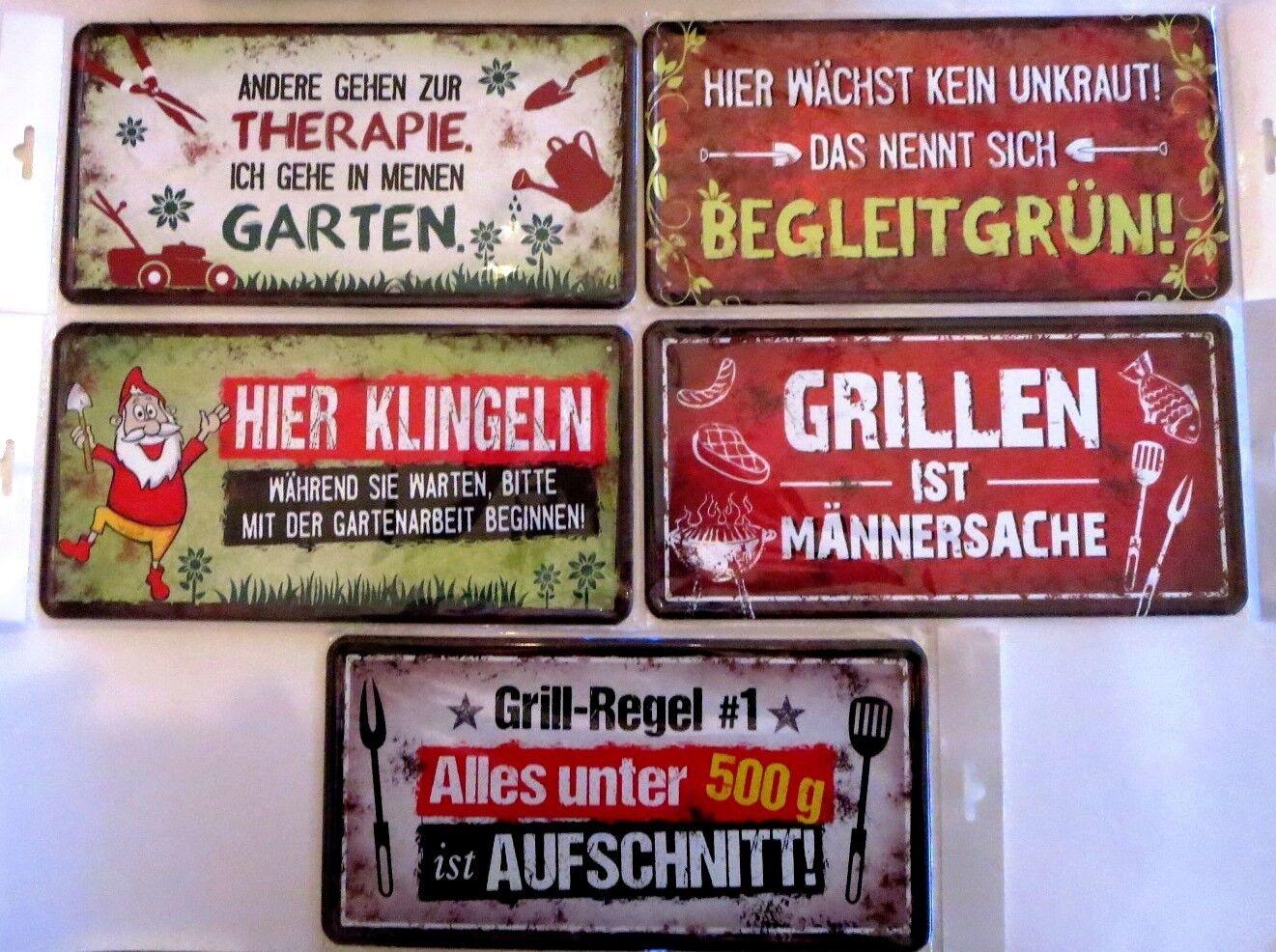 Blechschild mit Spruch Garten Grillen lustig Geschenk Deko Shabby Schild Auswahl