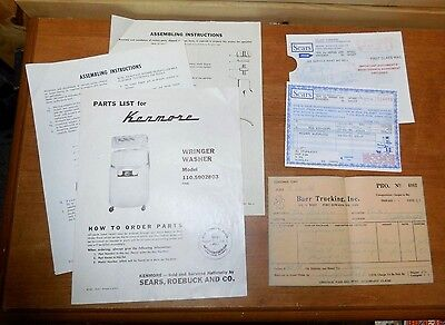 Sears Roebuck Kenmore Wringer Washer 1970 Parts List Other Original Paperwork