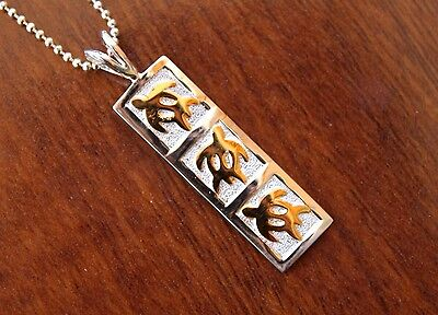 Hawaiian Jewelry - Hawaiian Jewelry 14K GOLD PLATED SILVER HONU TURTLES Pendant Necklace SP11015