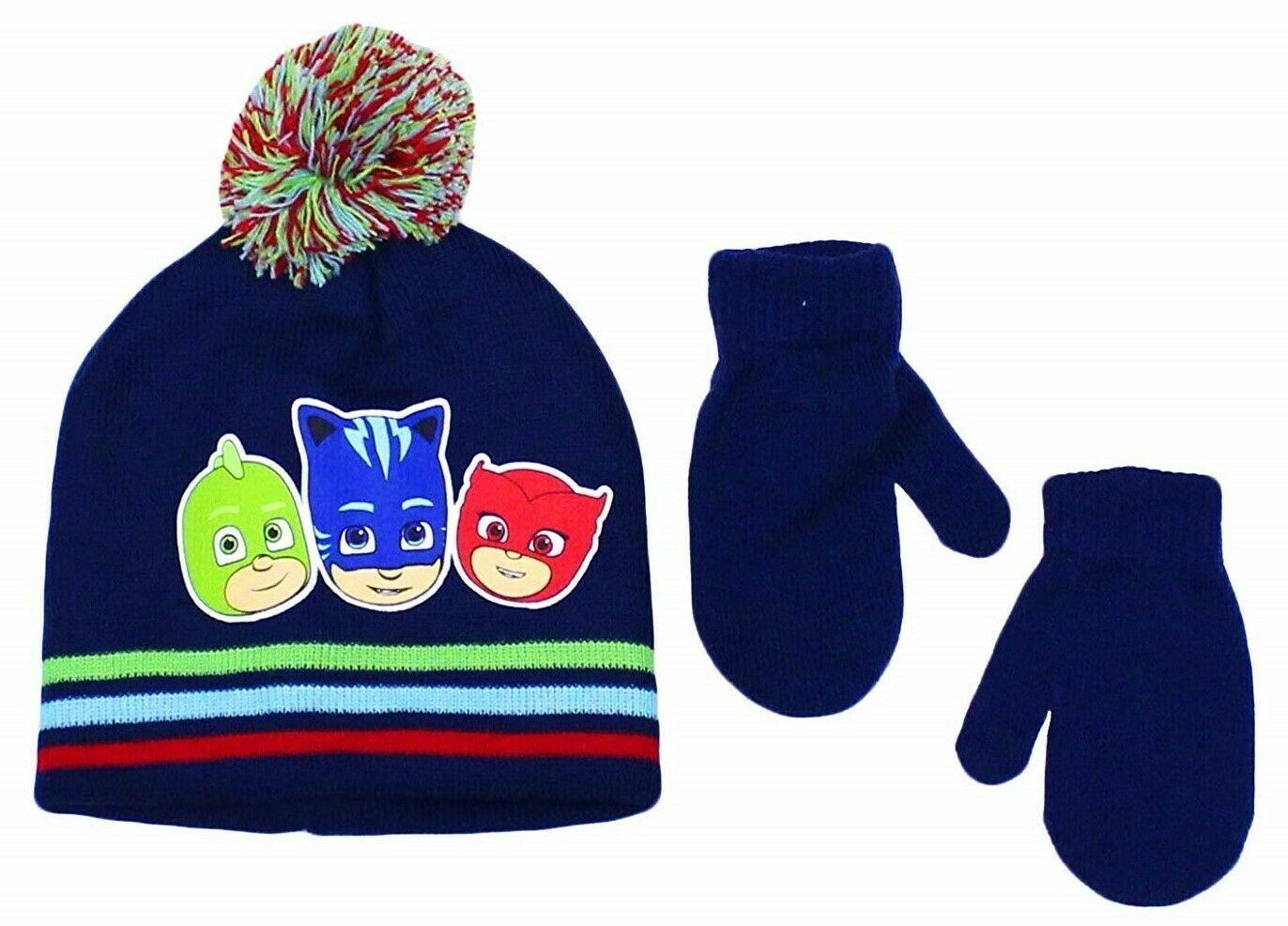 Disney PJ Masks Boys Winter Beanie Hat Gloves Mitten SET Kid