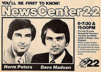 1981 Wwlp Tv News Ad Norm Peters Dave Madsen Springfield Massachusetts