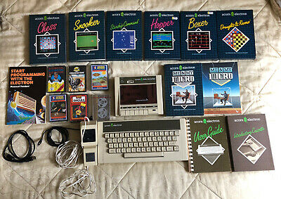 Acorn Electron Vintage 1980s Computer Data Recorder Games Cables Manual Books