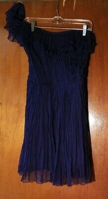 - Kate Moss for Top Shop Navy Pleated Georgette One Shoulder Party Dress size 8 US