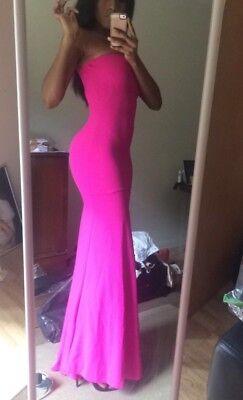 John Zack Tall Bandeau Fishtail Maxi Dress Hot Pink UK 6
