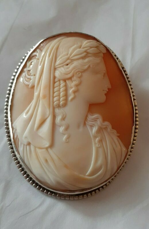 Sterling Silver Genuine Carved Cameo Brooch Pin Pendant
