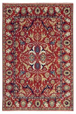 Original Burgundy Rug Affordable Rugs Handmade Carpet 10' x 14' Serapi Design