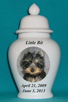 "5"" Photo Picture Pet Dog Cat Cremation Memorial Urn Personalized"