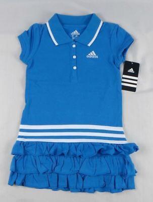- ADIDAS Little Girls Ruffled Polo Dress NWT Blue Summer Play Sports 4 5 6