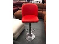 Red leather bar kitchen stool