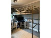 Quality Sturdy IKEA Metal Single Sleeper Bunk Cabin Loft Bed Frame Child Kids Teenage Student