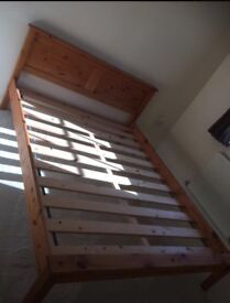 Solid pine king size bed frame size in very good condition