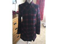 Women's next burgundy and navy check Coat size 10