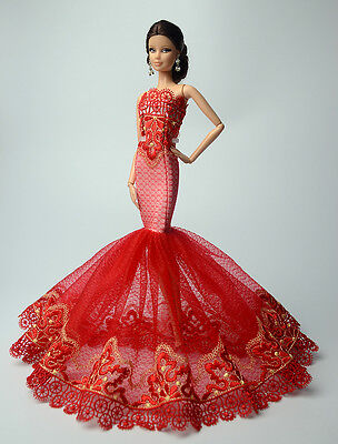 Red Royalty Mermaid Dress Party Dress/Clothes/Gown For Barbie Doll F60