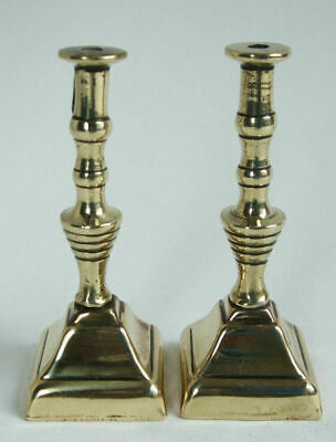Antique Square Based Miniature Brass Dolls House Fireplace Candle Sticks.