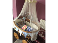 Large Moses basket on wheels swap for Chicco next2me or other bedside cot