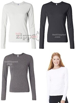 Bella Ladies 1×1 Baby Rib Long Sleeve Cotton T-Shirt 5001 S-2XL CLOSEOUT ()