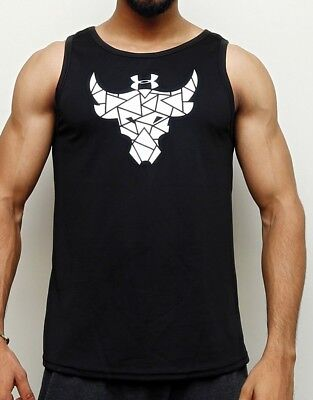Under Armour Project Rock Brahma Bull T Shirt Compression Black Sleeveless