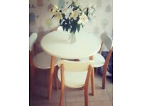 Solid Wood Table & Chairs in White & Wood £40. Some marks but could easily be upcycled!!