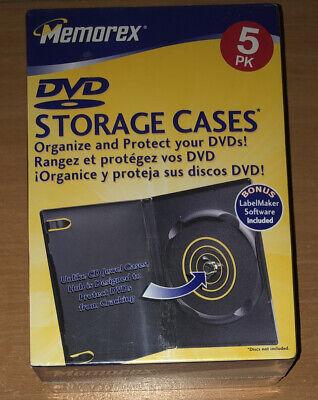 Memorex Standard Dvdvideo Game Storage Cases 5 Pack Black Brand New Sealed