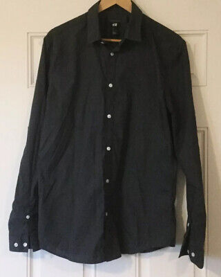 H&M Easy Iron Shirt Size Large Women's Gray Long Sleeve Button Front Collar Top