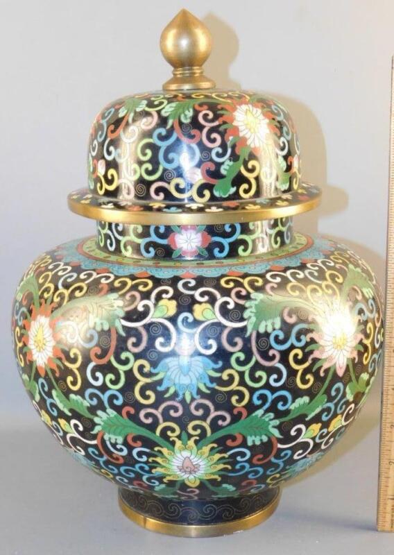 Beautiful Asian Chinese Bronze Cloisonne ginger jar 13