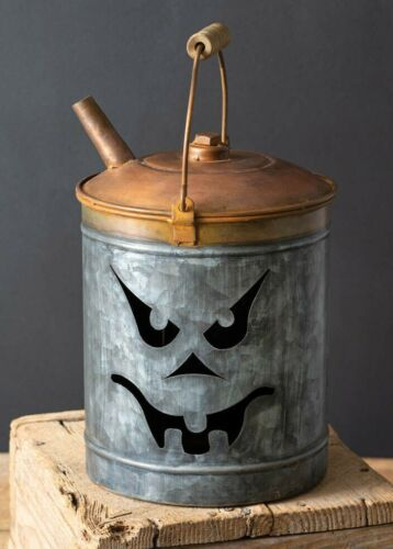 JACK-O-LANTERN Oil Can Gas Can Rustic Pumpkin Luminary Halloween Candle Holder