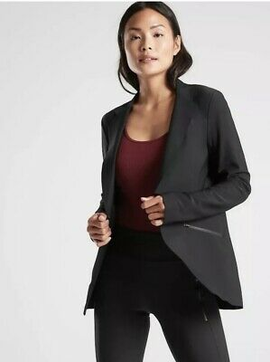 ATHLETA Interstellar Blazer 8 M MEDIUM Black Stretch Travel Work Jacket Black Stretch Blazer Jacket