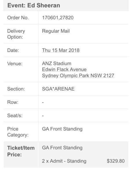 2x GA FRONT STANDING ED SHEERAN SYDNEY 2018 Concert Tickets