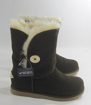Brown Winter Flat Ankle Boot Fur Inside/Gold Button Size 8