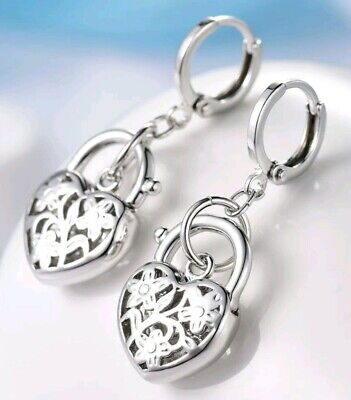Filled Heart Dangle - Brand New Floral etched Heart Padlock Dangle Earrings. 18K White Gold Filled.