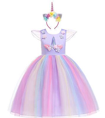 Unicorn Dress Birthday Kids Dresses For Girls Costume Halloween Christmas party ()