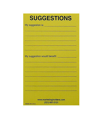 Marketing Holders Suggestion Box Cards 4w X 6h Yellow Pack Of 50 Wholesale