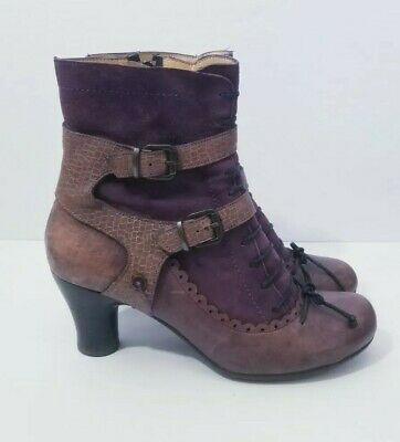 Gold Button Victorian Boots Size EU 41 US 10 Purple Leather Buckled Steampunk