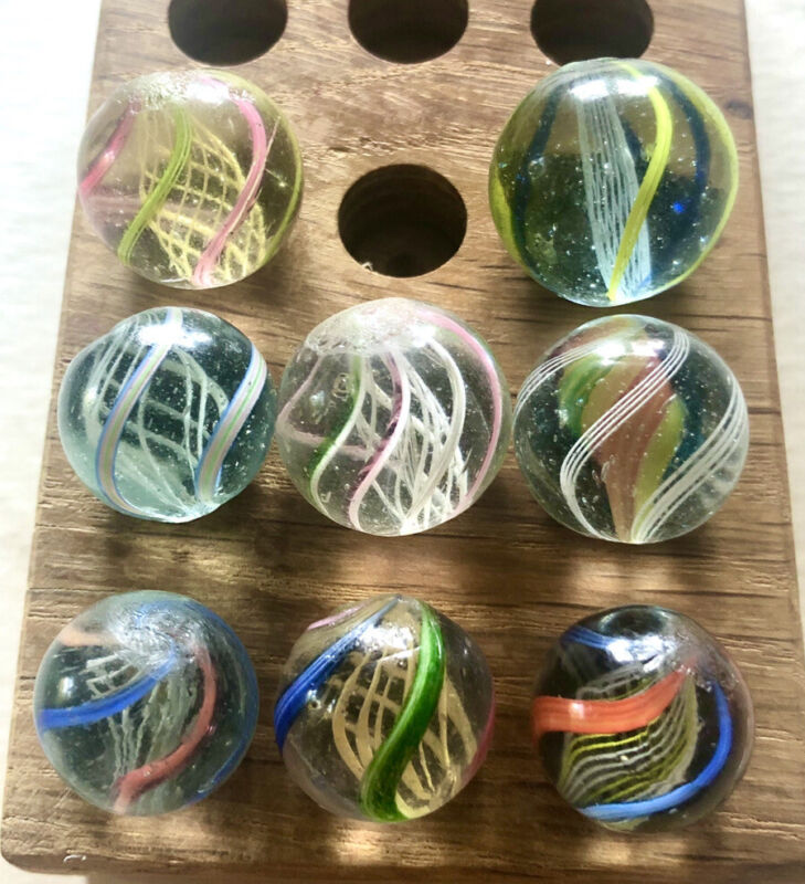 """Lot Of 8 Antique Handmade German Swirl Marbles 0.66""""-0.85"""" Great Condition"""